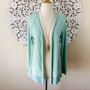 {Loft} Pale Green/Blue Open Fly-Away Cardigan